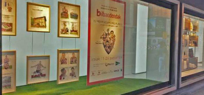 'El mejor equipo del mundo' en los escaparates de Bilbao